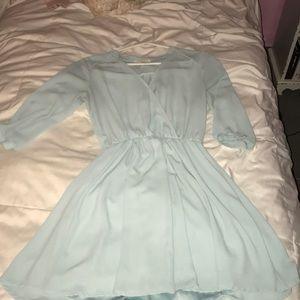 Powder blue, long sleeve dress